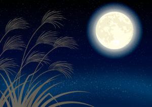 月とすすきのイラスト
