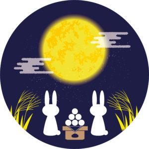 お月見をするウサギのイラスト