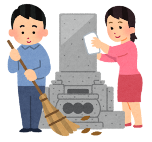 先祖のお墓を掃除する夫婦