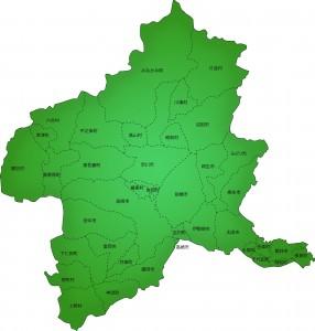 群馬県の地図のイラスト