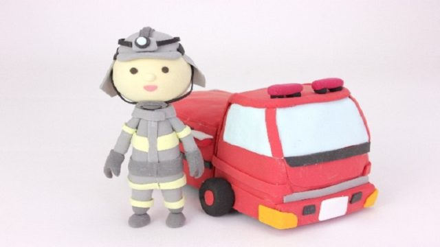 消防車と消防士