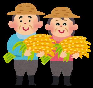 新米を収穫する農家