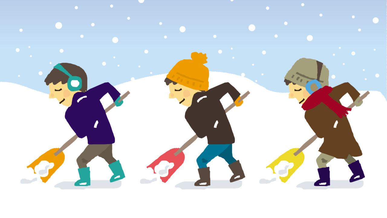 雪かきスコップで雪かき