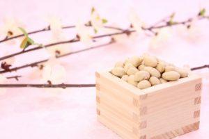 豆まきの豆と梅の花