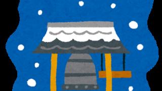 雪が降る中の除夜の鐘のイラスト