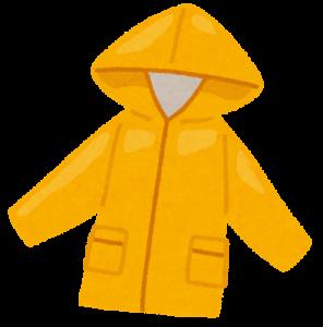 雨の中でも目立つ黄色い自転車用レインコート