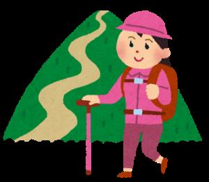 山登りをする女性のイラスト