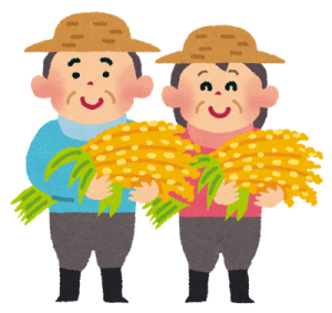 二百二十日の頃に米を収穫する農家