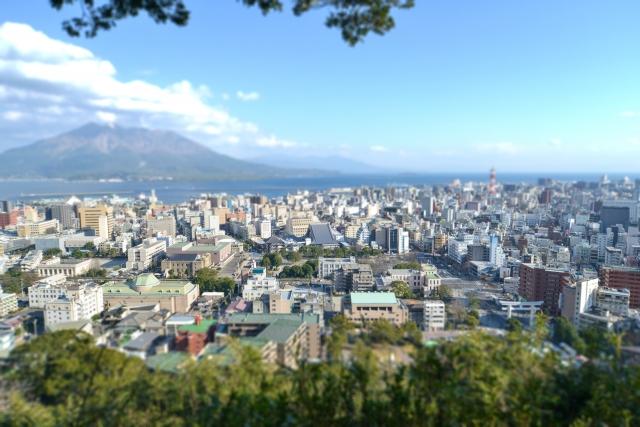 城山から見た鹿児島市と桜島