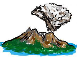 噴煙を上げる桜島のイラスト