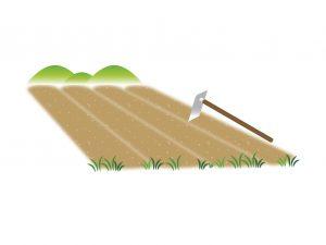 畑と鍬の風景のイラスト