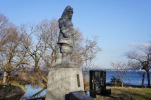 坂本城跡の明智光秀像