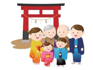 神社の鳥居七五三のお祝いをする家族
