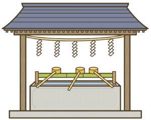 神社の手水舎のイラスト
