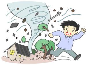 竜巻の被害と逃げる人のイラスト